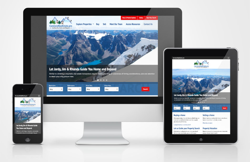 CanmoreRealEstate.pro website on different devices sizes